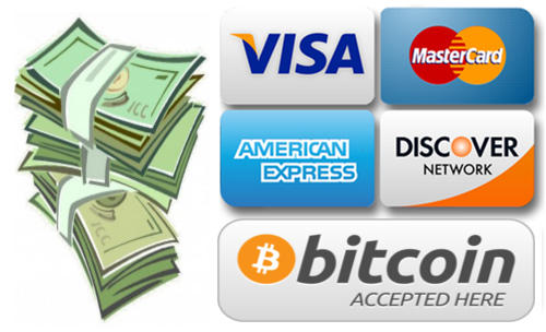 Cash, Credit Card, Bitcoin